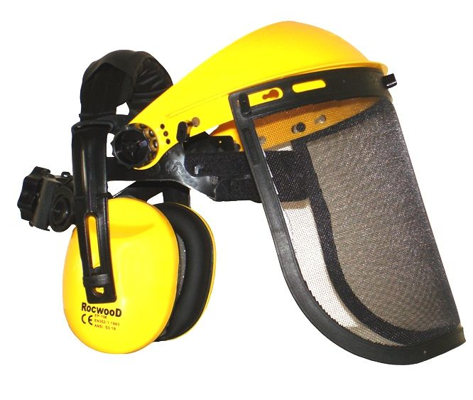 Obličejový ochranný štít s kovovou síťkou + sluchátky